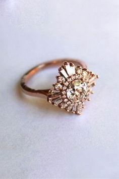 White Sapphire Art Deco Engagement Ring