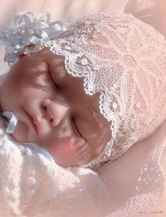 on flickr.com Life-like Doll- Reborn in antique bonnet