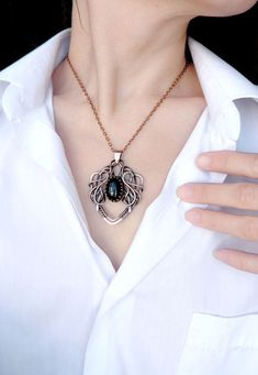 Black agate wire wrapped copper necklace Elvish by UrsulaJewelry