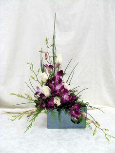 Modern Orchid Arrangement www.carolynsfloraldesigns.com