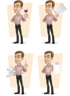 Elegant businessman vector character designed in 4 different postures. We've made an elegant businessman that could fit any design project starting from website template to poster and flyer. Continue reading →