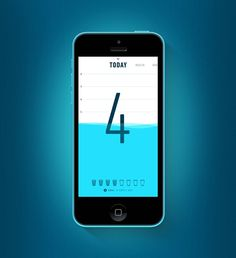 Apple. iPhone. iOS7. Water Consumption. Application. White & Blue. Simple. True. Clean. Number. Illustration. Concept. UI / UX. Interface. Daily Service. Check. Count. Modern. Design. Clear.
