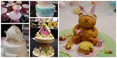 five images showing different cakes, pink and white cupcakes, a blue and white cake with frills, a white cake with little birds, colorful cakes decorated with fondant