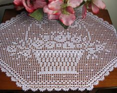 custom order crochet lace large doily runner filet rectangular white cotton placemat centerpiece handmade home decor wedding birthday gift