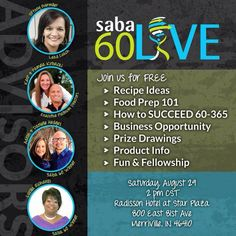 If you're interested in making a healthy lifestyle change and want to know more about what Saba 60 has to offer, come join us for FREE at the Saba 60 Live event!!!    