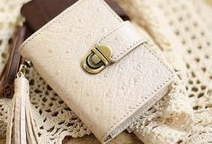 Handmade vintage rustic sweet cute pretty beautiful cilice leather small cards wallet pouch purse for women/lady girl