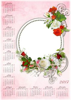 Установить Шаблон календаря PSD для 2016 и 2017 годах с красивыми розами и DPTEvCG5