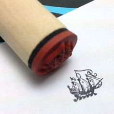 Pirate Ship Rubber Stamp   Nautical  Tattoo by RADstamps on Etsy, $3.75