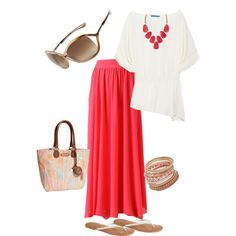 Coral Skirt & White Top