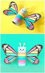 "Rainbow Butterfly Paper Tube Kids Craft with Free Printables. Print this colorful design for a happy spring project for kids or there's a also a blank ""color in"" option to design your own! Kids Crafts, Summer Crafts, Toddler Crafts, Creative Crafts, Arts And Crafts, Crafts Cheap, Craft Kids, Craft Free, Beach Crafts"