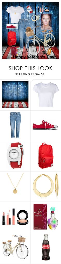 """Takin' a ride"" by yvette-colon ❤ liked on Polyvore featuring RE/DONE, Converse, Ross-Simons, MAC Cosmetics and Jennifer Lopez"
