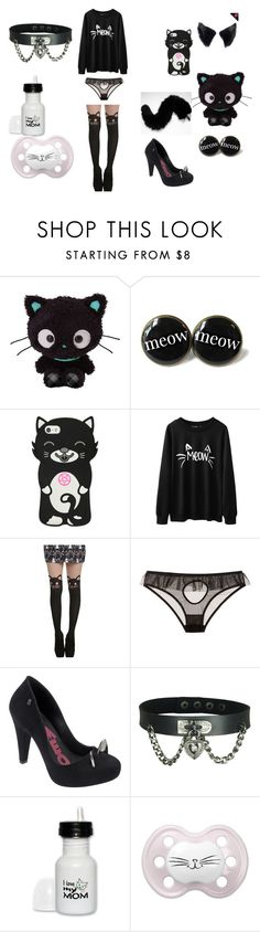 """Black Kittenplay Little Space Outfit"" by nina-fluffin-radke ❤ liked on Polyvore featuring Le Petite Trou and Melissa"