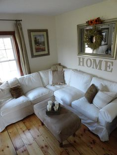 White Ikea Ektorp Sectional Sofa, No Sew Ottoman cover. Want this couch someday. Cottage Living, My Living Room, Home And Living, Living Room Decor, Small Living, Living Area, Style At Home, Ikea Ektorp, Ektorp Sectional