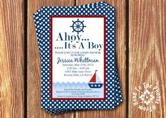 Baby Boy Sailboat Shower Invitations. $12.00, via Etsy.