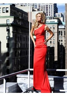 Sheath/Column One Shoulder Sleeveless Elastic Woven Satin Red Prom Dress With Hand-Made Flower #FJ974 - See more at: http://www.victoriasdress.com/prom-dresses/red-prom-dresses.html#sthash.2WuIofHn.dpuf