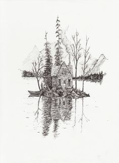 8.5 x 11 A black and white illustration of a house stranded amidst still waters. High quality print on 100 Lb paper.