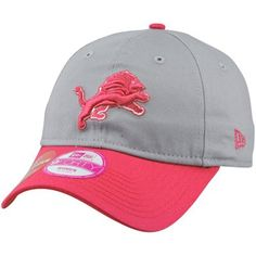 New Era Detroit Lions Ladies Breast Cancer Awareness Gridiron 9FORTY Adjustable Hat - Gray/Pink