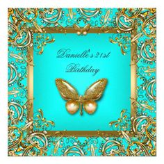 Birthday Party 21st Gold Teal Butterfly Lace Image Announcements