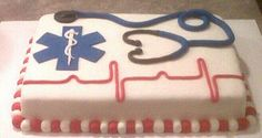 Simple like this. Plain border, use butter cream instead of fondant. Replace EMT insignia with RN. Construct stethoscope from candy.