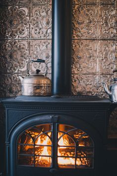 Sitting next to a wood fire burning stove is where I would like to be! Sitting next to a wood fire burning stove is where I would like to be! Wood Stove Surround, Tin Tiles, Fresh Farmhouse, Rustic Farmhouse, Pellet Stove, Stove Fireplace, Wood Stove Wall, Wood Stove Hearth, Hearth Tiles