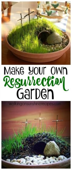 Learn how to make your own DIY Resurrection Garden from Walking on Sunshine Reci. - Learn how to make your own DIY Resurrection Garden from Walking on Sunshine Recipes. Jesus How to Make a Resurrection Garden for Easter Easter Bingo, Easter Puzzles, Easter Activities For Kids, Easter Crafts For Kids, Easter Food, Easter Decor, Easter Jesus Crafts, Easter Centerpiece, Bunny Crafts