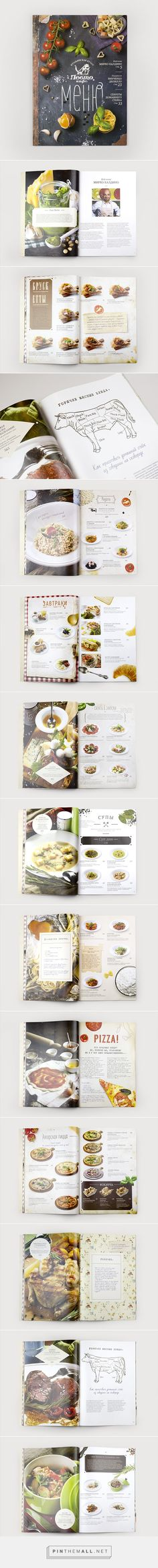 "Design of a menu for an Italian restaurant ""Pesto Cafe"" placed in Moscow. The menu is like a magazine that shows dishes, information about the recipes of Italian cuisine and Italian traditions. Photos of dishes for menu by Nikita K… Menu Layout, Print Layout, Book Layout, Restaurant Menu Design, Restaurant Branding, Editorial Layout, Editorial Design, Food Catalog, Catalogue Layout"