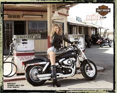1x1.trans Biker Girl of the Week: Gas Station Girl   Sexy Harley Davidson Ads with Supermodel Marisa Miller