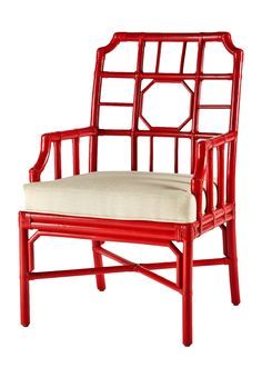 Leather Wrapped Rattan Arm Chair in Antique Red - LOW STOCK - ORDER NOW!