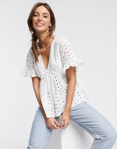 Shop ASOS DESIGN broderie smock top with fluted sleeve in white. With a variety of delivery, payment and return options available, shopping with ASOS is easy and secure. Shop with ASOS today. Asos, Smocks, Mesh Long Sleeve, Latest Tops, Going Out Tops, One Shoulder Tops, Knitted Tank Top, Crop Shirt, Nice Tops