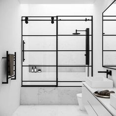 Shop for VIGO Grid Elan x Sliding Frameless Adjustable Reversible Clear Tempered Glass Tub Door in Matte Black. Get free delivery On EVERYTHING* Overstock - Your Online Home Improvement Shop! Vigo Shower Doors, Frameless Shower Doors, Bathtub Doors, Black Shower, Black Tub, Thing 1, Shower Tub, Glass Panels, Sliding Doors