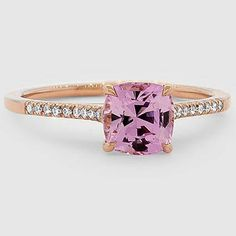 14K Rose Gold Sapphire Lissome Diamond Ring // Set with a 6.5mm Unheated Pink Cushion Sapphire (From Unique Colored Gemstone Gallery) #BrilliantEarth