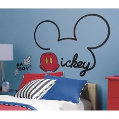Bring your walls to life with these All About Mickey peel and stick wall decals. Great for temporary decorating, these Mickey wall decals can be installed in minutes. To apply, slowly peel each pre-cut wall decal from the backing and stick onto any s Mickey Mouse Wall Decals, Mickey Mouse Room, Minnie Mouse Bow, Mickey Mouse Clubhouse, Mickey Ears, Disney Mickey Mouse, Baby Mickey, Ideas Habitaciones, Disney Rooms