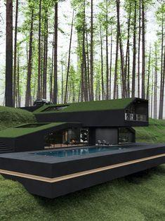 Architecture Design Concept, Modern Architecture House, Interior Architecture, Amazing Architecture, Black Architecture, Pavilion Architecture, Sustainable Architecture, Residential Architecture, Dream Home Design