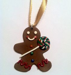 Gingerbread Man Ornament, Christmas Decor, Miniature Food