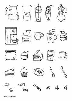 Coffee - Coffee Icon - Ideas of Coffee Icon - CoffeeYou can find Simple doodles and more on our website.Coffee - Coffee Icon - Ideas of Coffee Icon - Coffee Doodle Drawings, Easy Drawings, Doodle Art, Doodle Sketch, Tattoo Drawings, Bullet Journal Ideas Pages, Bullet Journal Inspiration, Bullet Journal Icons, Bujo Doodles