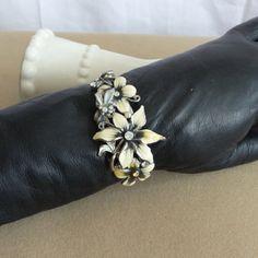 Bracelet Clamper  Vintage Enameled Flowers by Atticsnoops on Etsy