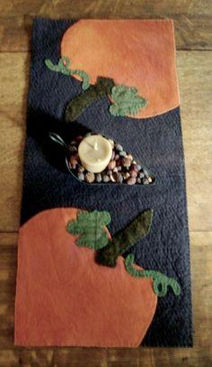 Pumpkin Runner Felted Wool Applique by JustJills on Etsy, $36.00