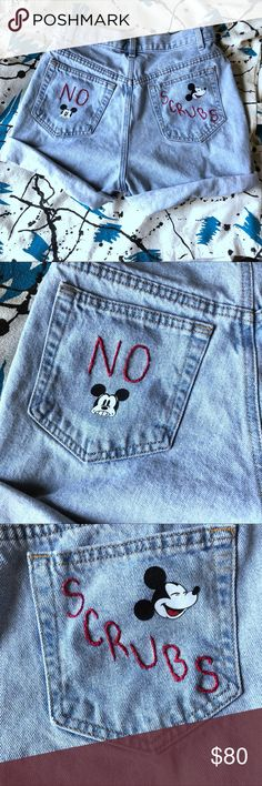 """🌼🐁Custom Mickey mom shorts """"NO SCRUBS"""" *Size: 4* *100% cotton* *Machine wash warm/ gentle cycle/ light colors* *Measurements: Coming soon!*  -Custom upcycled -Mom shorts  -Light jean exterior -Features Mickey Mouse graphics and """"NO SCRUBS"""" embroidery -High waisted -4 pockets -Belt loops -Super cute worn regular or with rolled up hem -Pairs well with most tops and shoes  Tags: retro vintage 70s 80s 90s grunge tumblr rare trendy y2k aesthetic /will trade for specific unif, black milk…"""