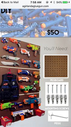 So many nerf guns--so little time! So here are loads of fun ideas on nerf gun storage so you can get them off the floor and organized! Nerf Gun Storage, Toy Storage, Pegboard Storage, Storage Ideas, Wall Storage, Kids Storage, Airsoft Storage, Pistola Nerf, Nerf Party