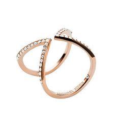 MKJ3750 Michael Kors Arrow Motif Ring Rose Gold Tone Crystal Pave Size 8