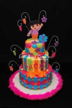 Colorful Dora Cake The Explorer Movie Cakes 4th Birthday