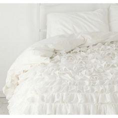 1000-TC Egyptian Cotton Ruffle Duvet Cover White