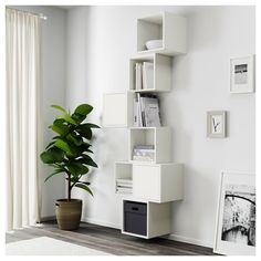 Pretty Wall Design Ideas With Ikea Eket Cabinet That You Will Love It Ikea Living Room, Decor, Eket, Wall Mounted Cabinet, Ikea Bedroom, Furniture, Flexible Furniture, Home Decor, Ikea