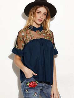Embroidered+Sheer+Mesh+Insert+Tie+Back+Top+22.00