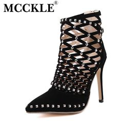 MCCKLE Women's Fashion Rivets Sandals Pointed Toe Super High Heels Spring Summer Boots 2017 New Sexy Cut Out Women Pumps