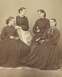 CDV Photo Four Lovely Women in Large Hoop Fashion Dresses Hosack Family 1860s | eBay