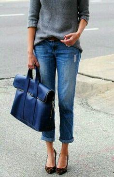 blue jeans / blue Phillip Lim bag
