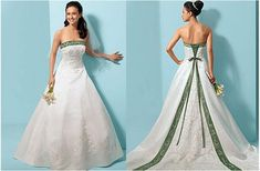wedding dress with emerald green accents | Bridal white takes a backseat to dresses splashed in pretty color ...