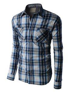 LE3NO PREMIUM Mens Lightweight Yarn Dyed Plaid Button Down Poplin Shirt