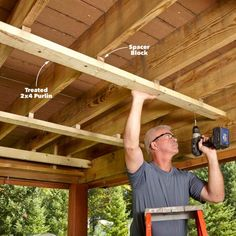 Convert the space under a second-story deck into a dry, spacious patio by installing this simple, under deck ceiling and gutter system. Under Deck Roofing, Patio Under Decks, Decks And Porches, Deck Patio, Backyard Pergola, Front Porches, Shed Under Deck Ideas, Under Deck Landscaping, Patio Railing